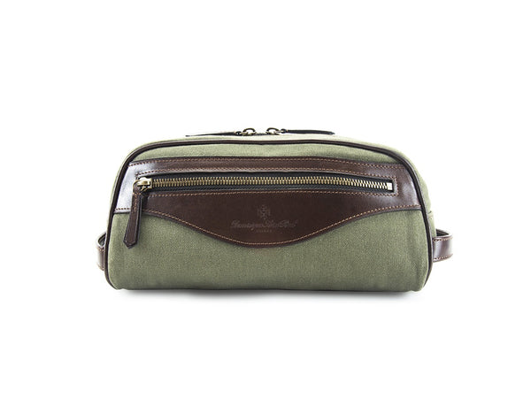 Montagnard canvas and leather day bag in olive green