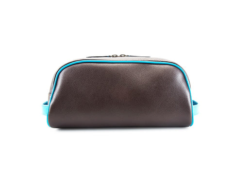 Montagnard leather day bag in dark brown and turquoise