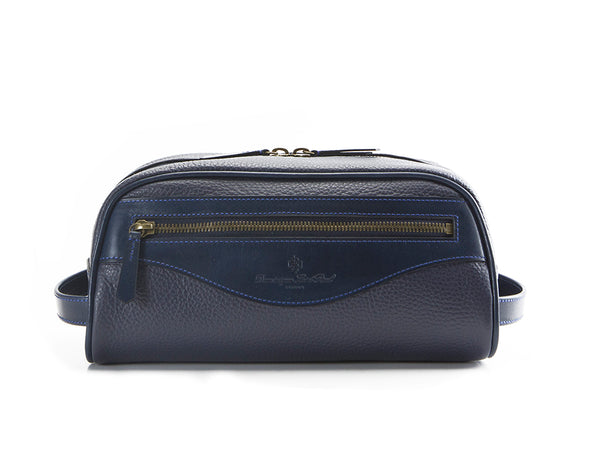 Montagnard leather day bag in blue and midnight blue patina