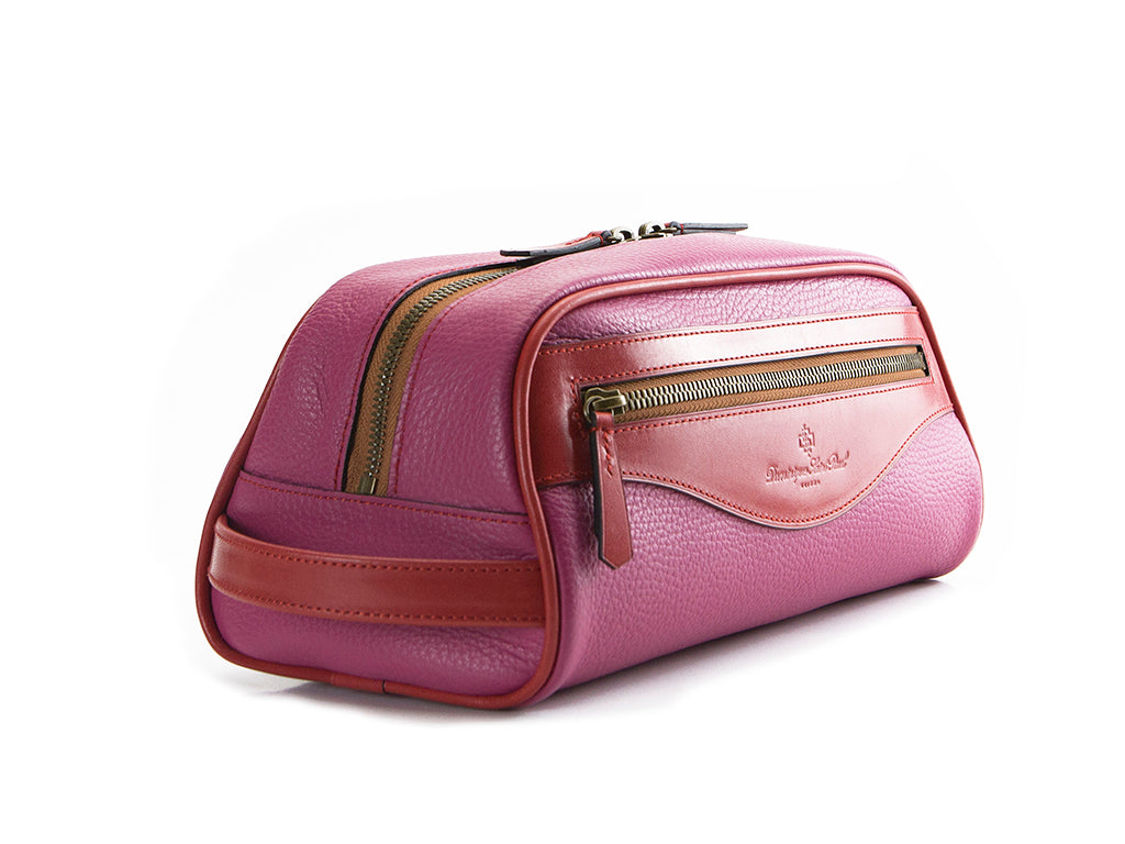 Montagnard leather day bag in pink and red