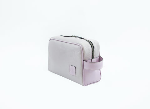 Nancy mini day bag soft grey and pink pebble grain leather