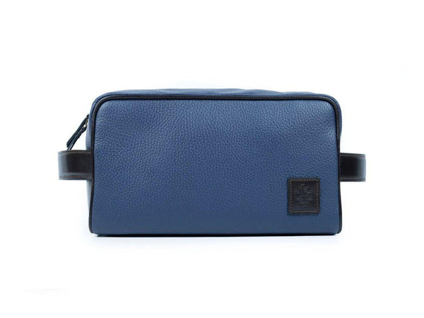 Nancy Italian pebble grain leather wash bag in navy blue