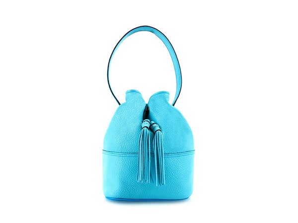 Noel ladies hand bag in turquoise pebble grain leather