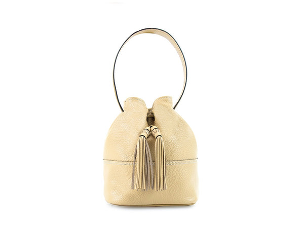 Noel ladies hand bag in sand color pebble grain leather