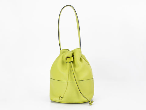 Noel hand bag in lime yellow pebble grain leather