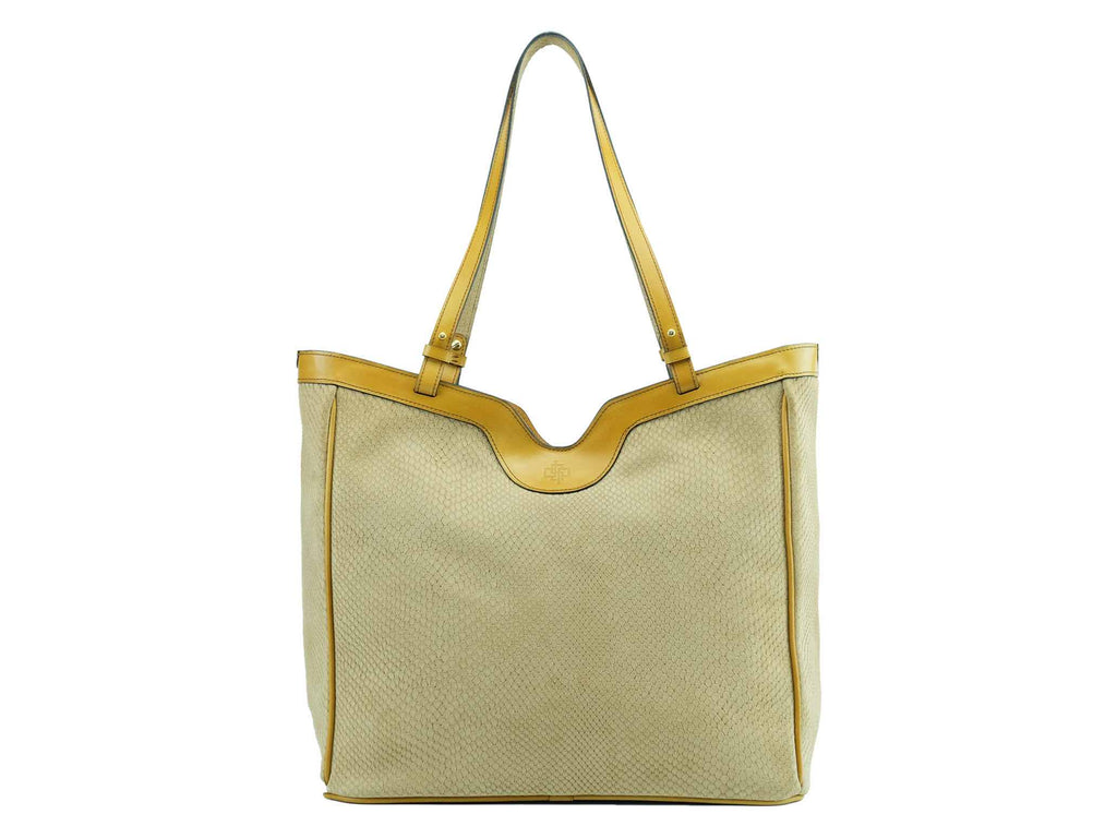 8e1ba31172 Ottilie tote bag in cream printed exotic suede leather – Dominique ...