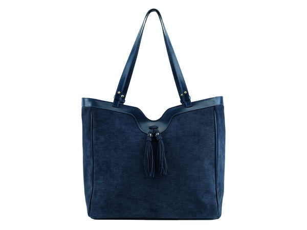 Ottilie bag exotic print Italian suede leather in dark blue
