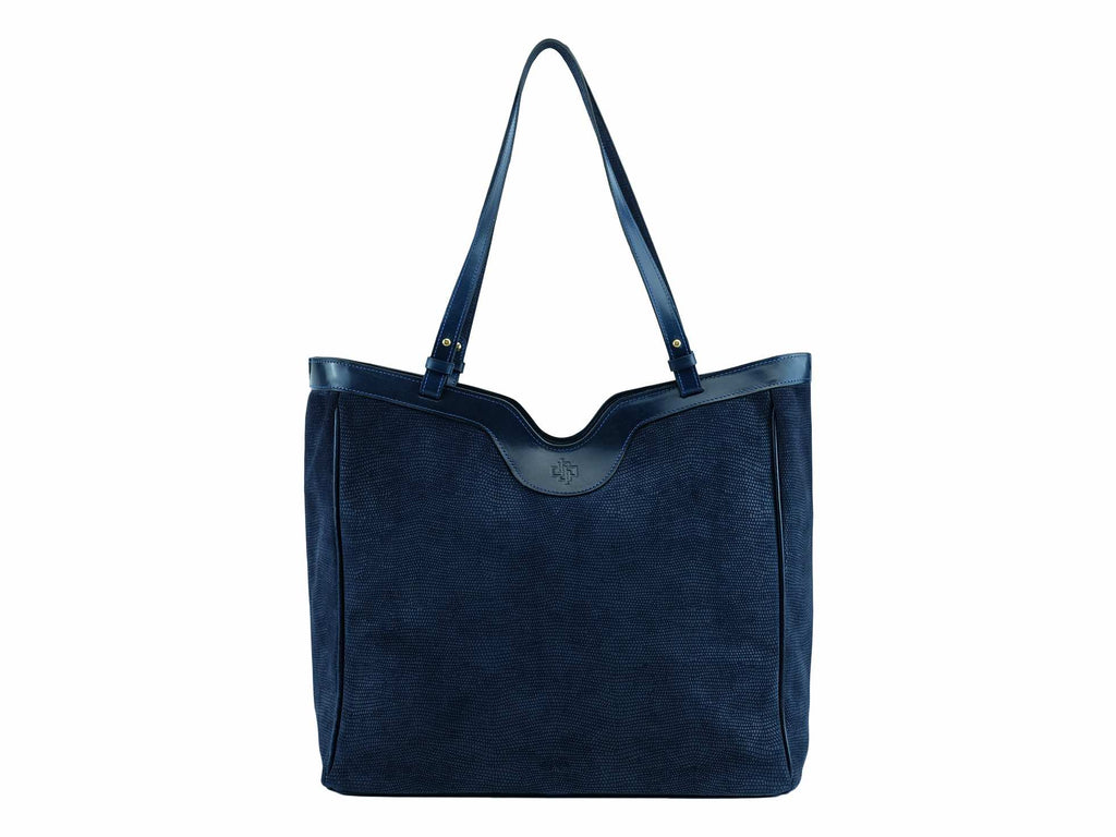 7eab236823 Click to zoom Ottilie tote bag in dark blue printed exotic suede leather