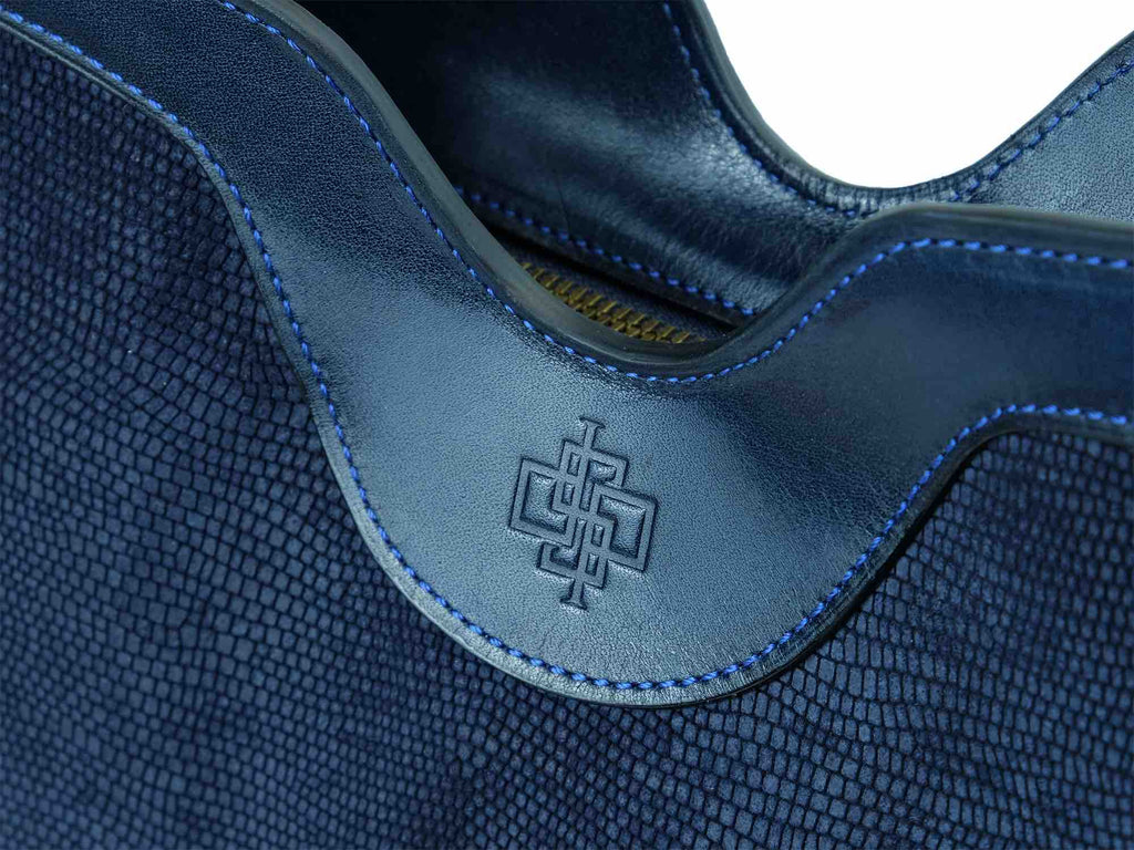 Ottilie tote bag in dark blue printed exotic suede leather
