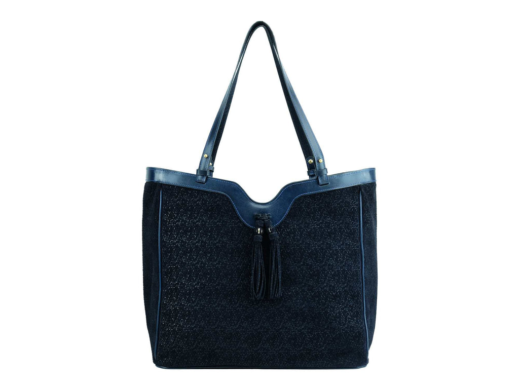 Ottilie bag fantasy print Italian suede leather in dark blue