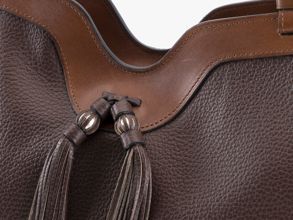 Ottilie tote bag in dark brown pebble grain leather