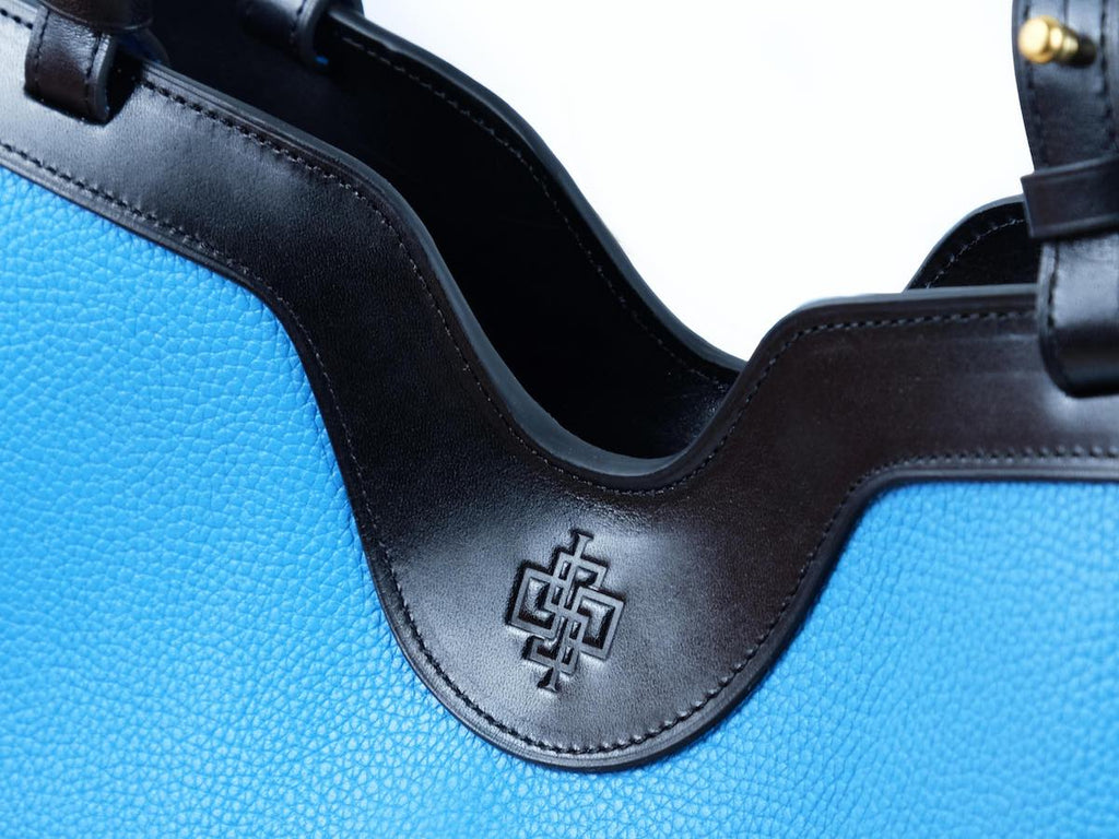 Ottilie Italian leather tote bag in turquoise by Dominique Saint Paul Saigon