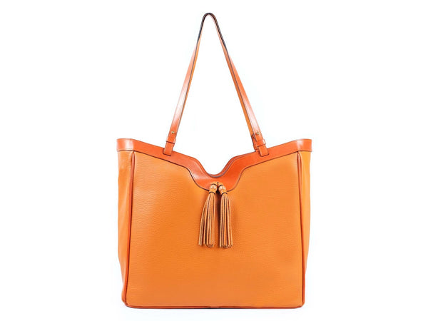 Ottilie Italian leather tote bag in orange