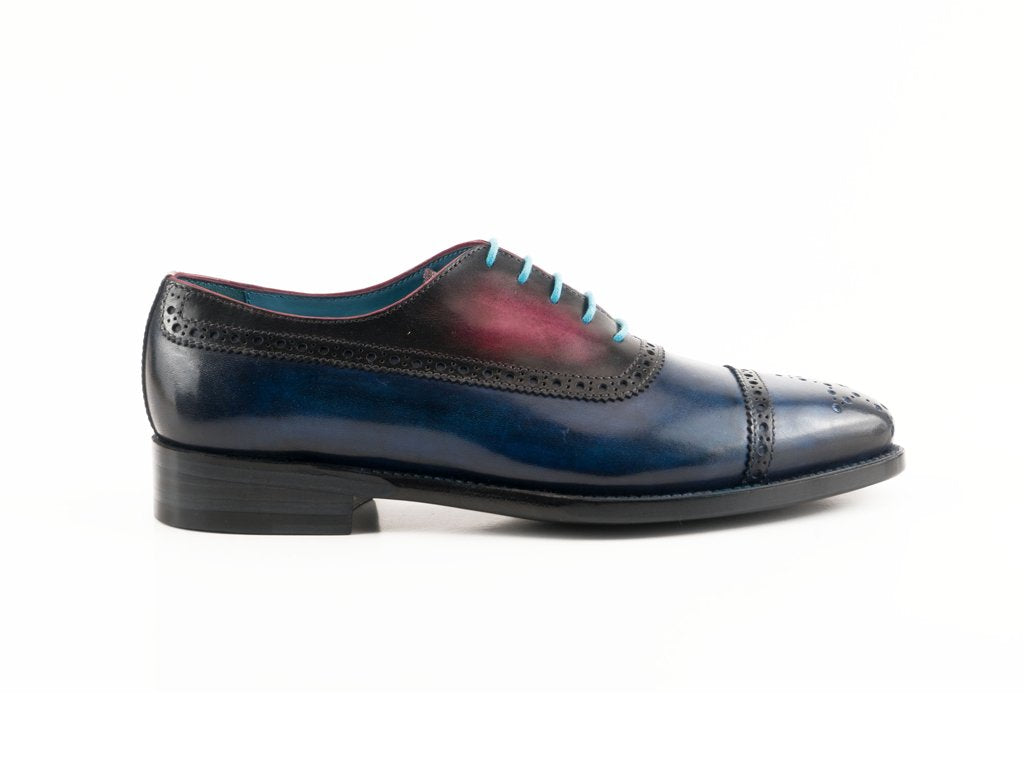 PQ Oxford brogue shoes midnight blue & fuxia - Made To Order