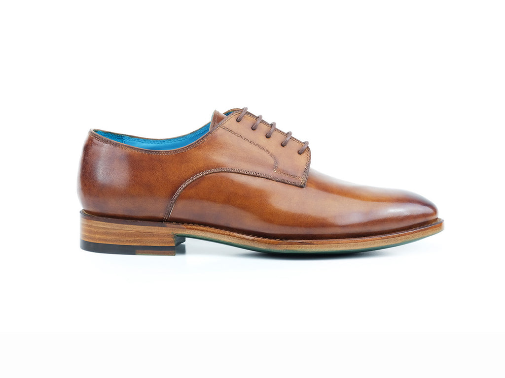 Pert Derby classic shoes in Cognac patina hand painted