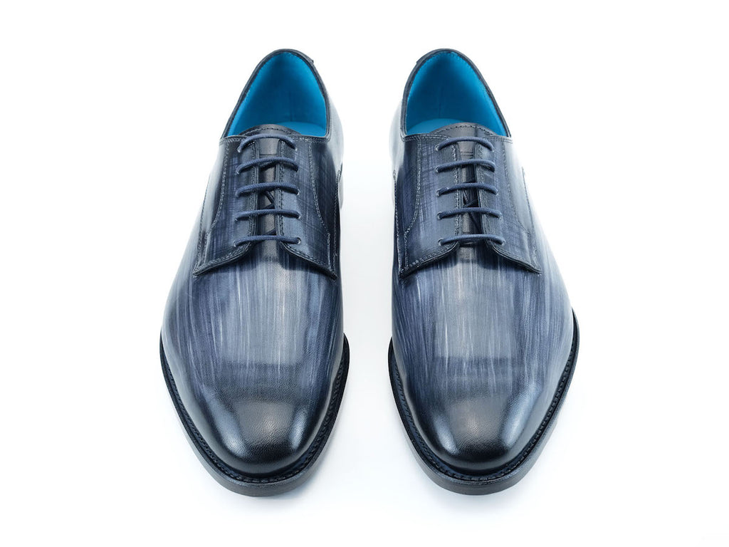 Pert Derby classic shoes in grey linear patina hand painted