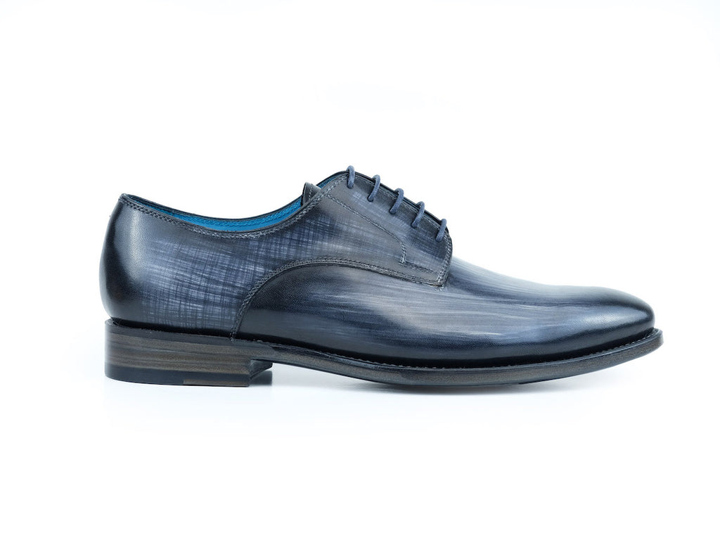 Pert Derby classic shoes in grey linear patina hand colored