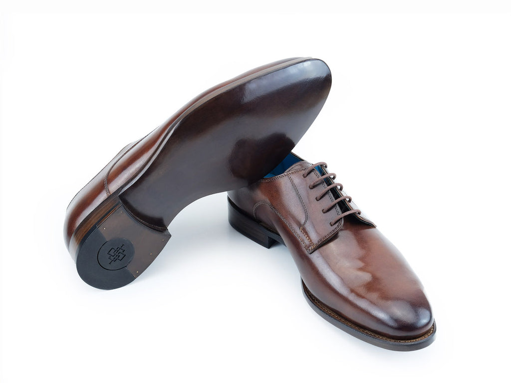 Pert Derby classic leather shoes in sô cô la patina
