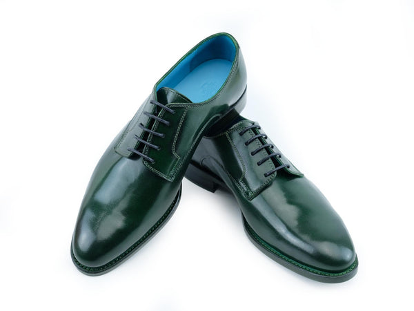 Pert Derby classic shoes in dark green patina hand colored