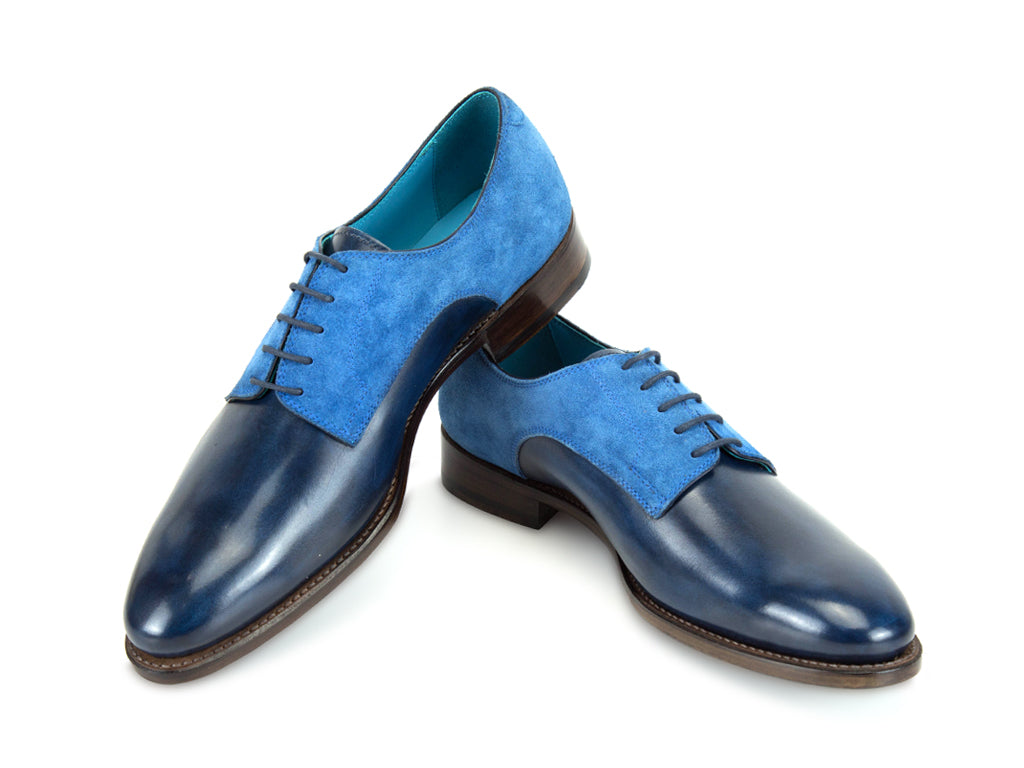 MADE TO ORDER PERT SHOES BLUE SUEDE AND PATINA