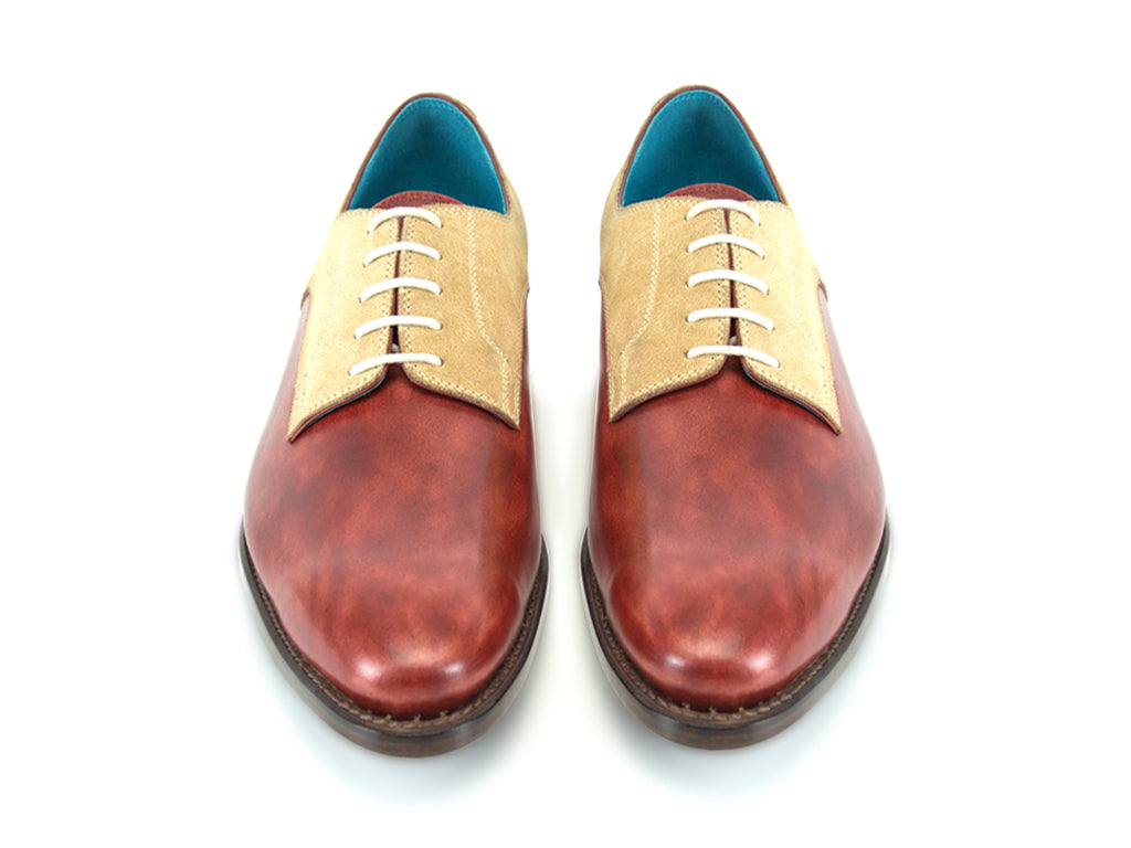 Pert Derby shoes in sand suede and Burgunday patina