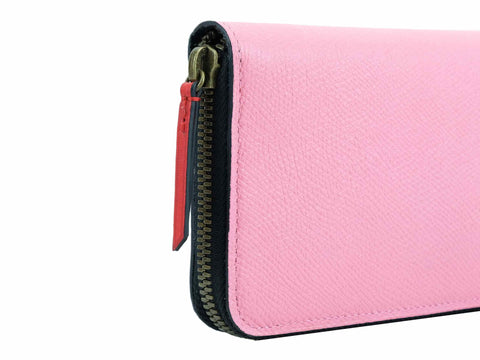 Phileas travel wallet in custom colors and pink Italian leather