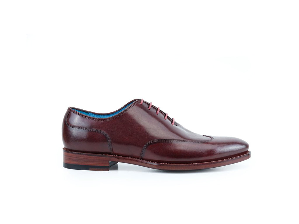 Raymondienne wing tip shoes hand painted patina Burgundy