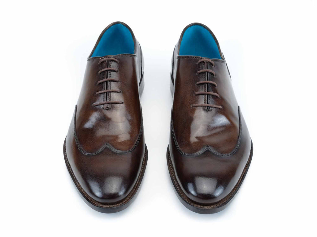 Raymondienne wing tip shoes hand painted patina chestnut