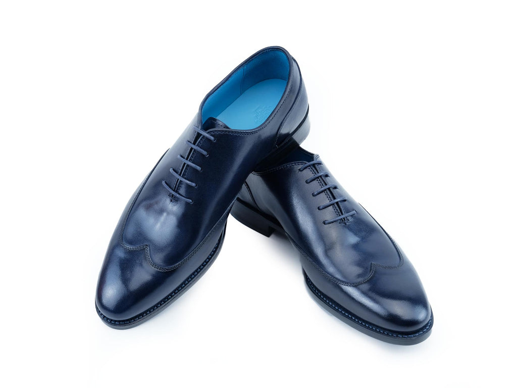 Raymondienne wing tip shoes hand painted patina blue