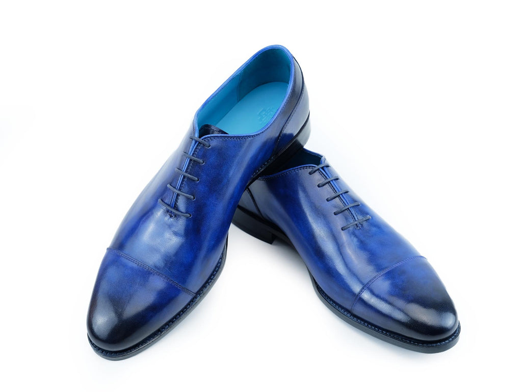 Russell plain toe cap shoes hand painted patina cobalt blue