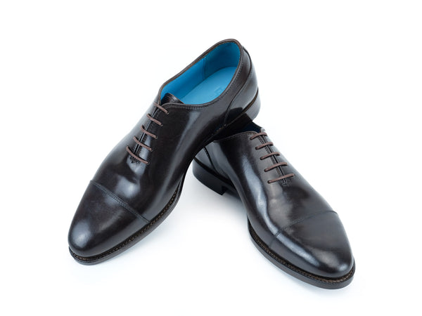 Russell plain toe cap shoes hand painted patina testa di Moro