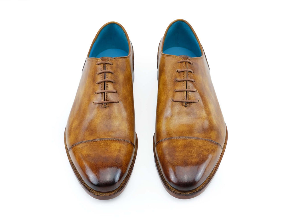 Russell plain toe cap shoes hand painted in tobacco patina