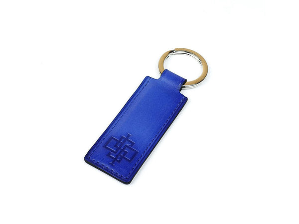 Saigon key ring - blue patina leather fob & palladium ring