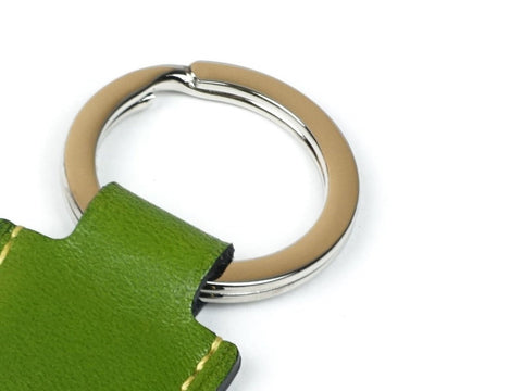 Saigon key ring - green patina leather fob & palladium ring