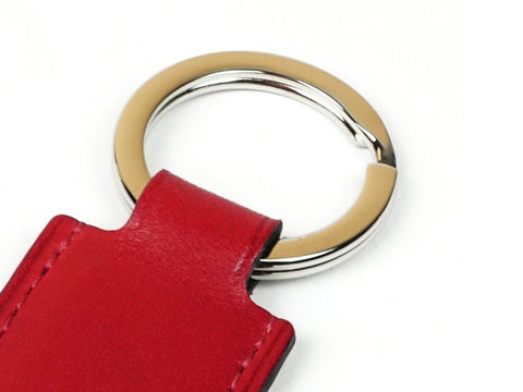 Saigon key ring - red patina leather fob & palladium ring