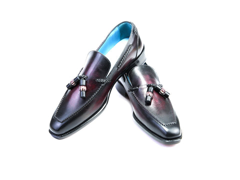 38 EE SAIGON TASSEL LOAFERS, DARK PURPLE PATINA - READY TO WEAR