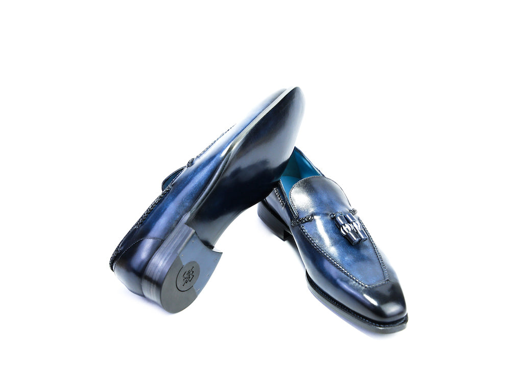 43 EEE SAIGON TASSEL LOAFERS, MIDNIGHT BLUE PATINA - READY TO WEAR