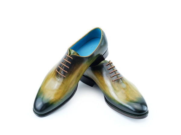 Aristocrat whole cut shoes dark green over harvest gold patina