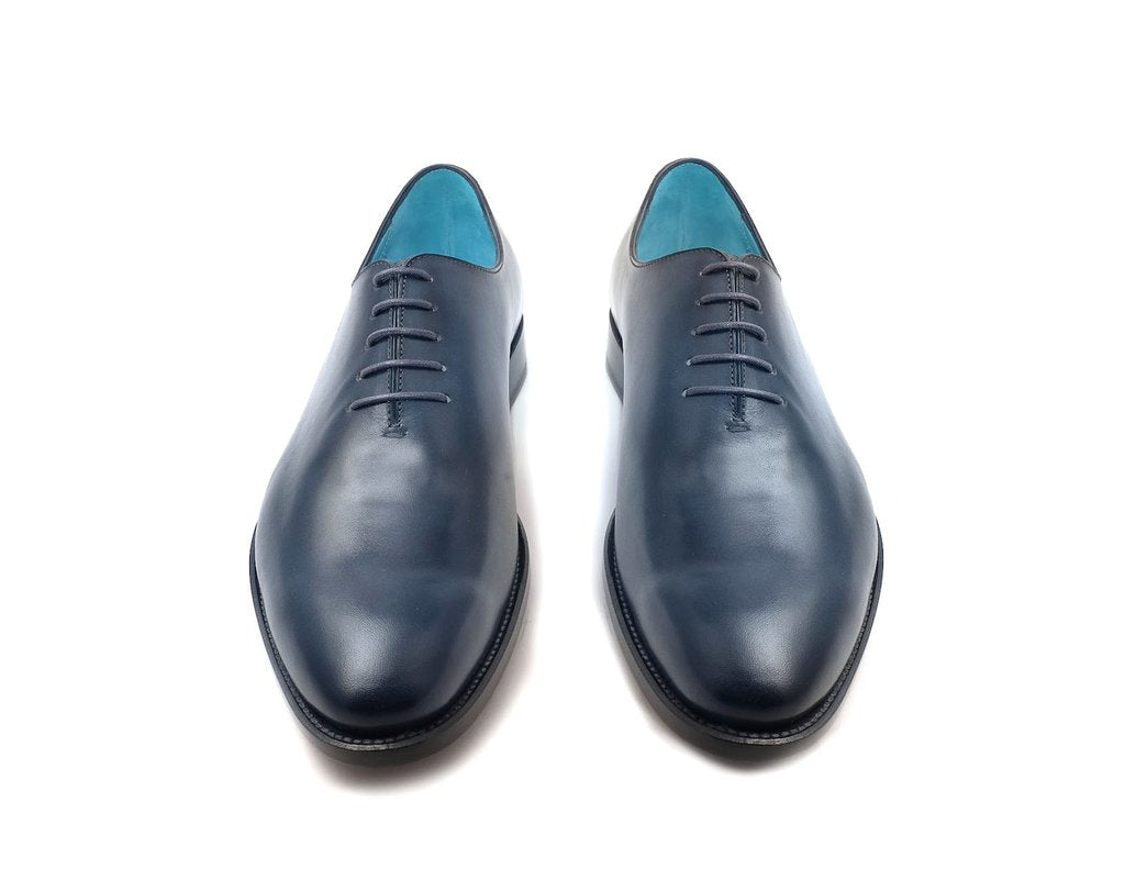 The Aristocrat whole cut dress shoes in midnight blue patina - Dominique Saint Paul
