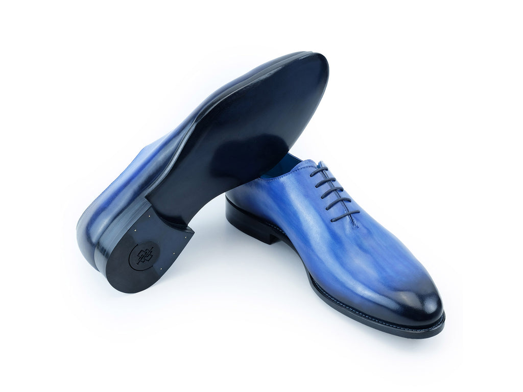 The Aristocrat whole cut dress shoes in cobalt blue patina Dominique Saint Paul