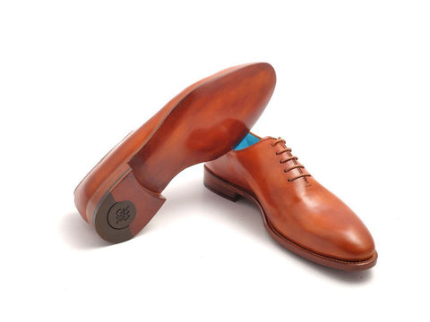 The Aristocrat whole cut leather dress shoes in London tan patina - Dominique Saint Paul