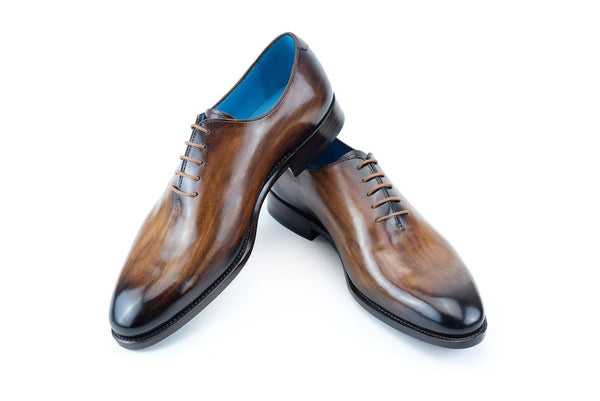 The Aristocrat whole cut dress shoes in wood patina