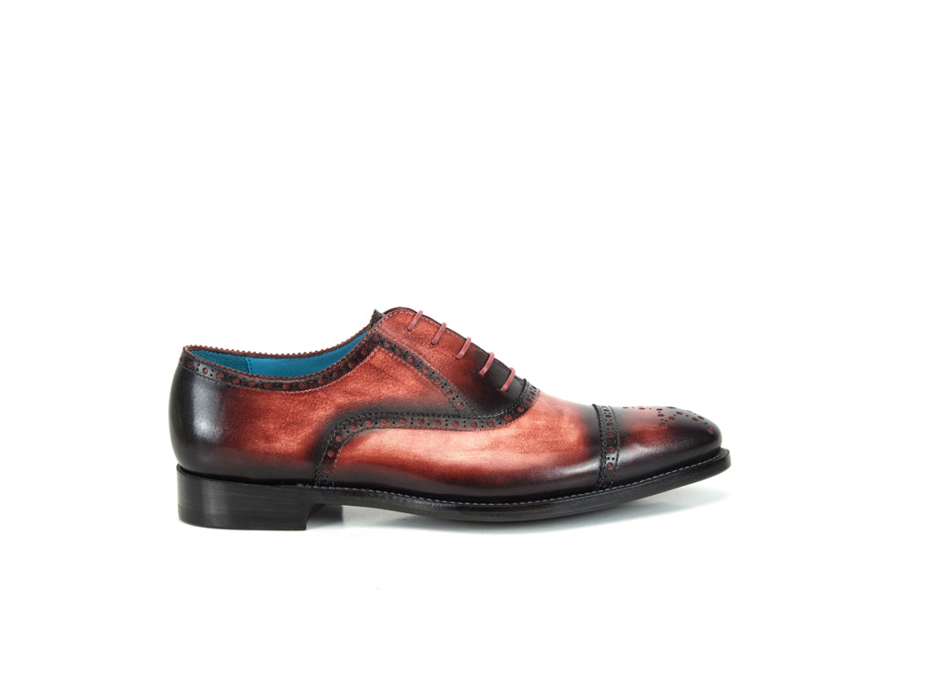 Citizen half brogue shoes in coral and red patina color