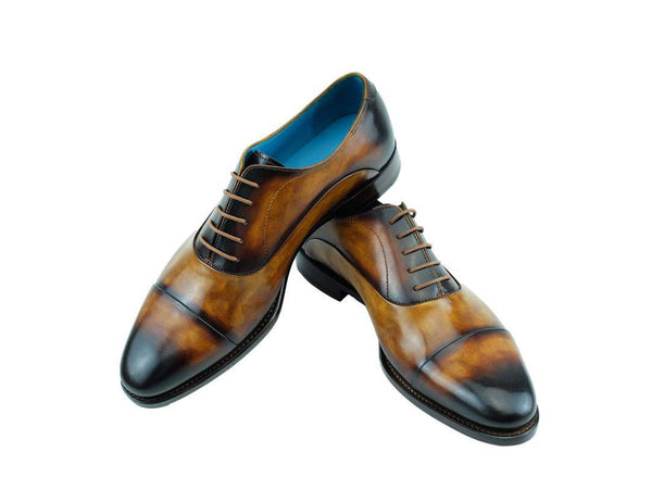 Custom made hand painted patina Oxford shoes