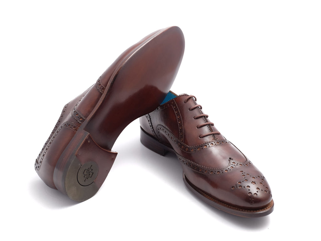 Full brogue wing tips shoes hand painted patina chocolate color - Dominique Saint Paul