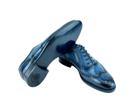 Countryman brogue shoes in custom made color navy blue