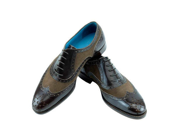 The Countryman full brogue dress shoes in brown painted mix brown suede