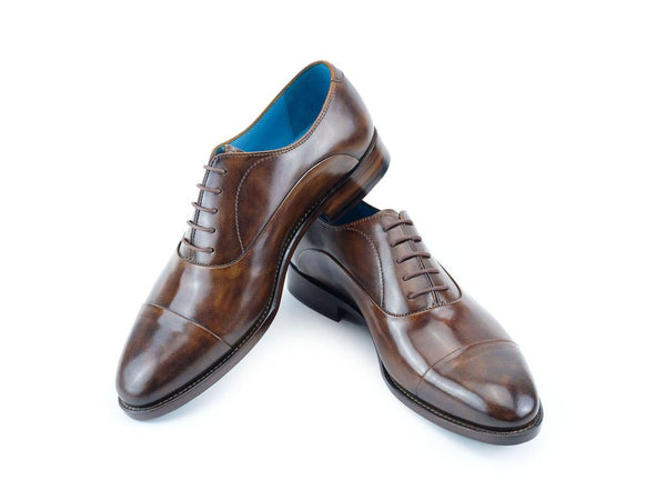 The Classic Oxford shoes in dark chestnut patina hand painted by Dominique Saint Paul