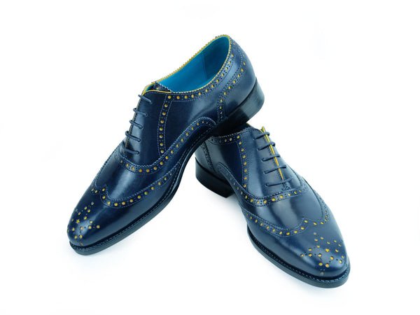 Blue over yellow patina brogue shoes hand painted