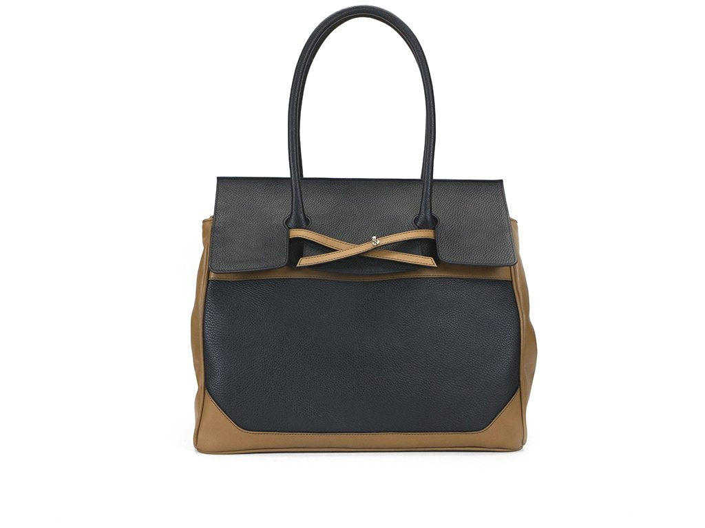 Lara unisex day bags in black and tan Italian Leather